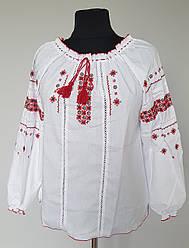 Женская вышиванка с мережкой больших размеров