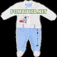 Человечек для новорожденного на выписку р. 56 ткань КУЛИР-ПИНЬЕ 100% тонкий хлопок ТМ Беби лайф 3123 Голубой