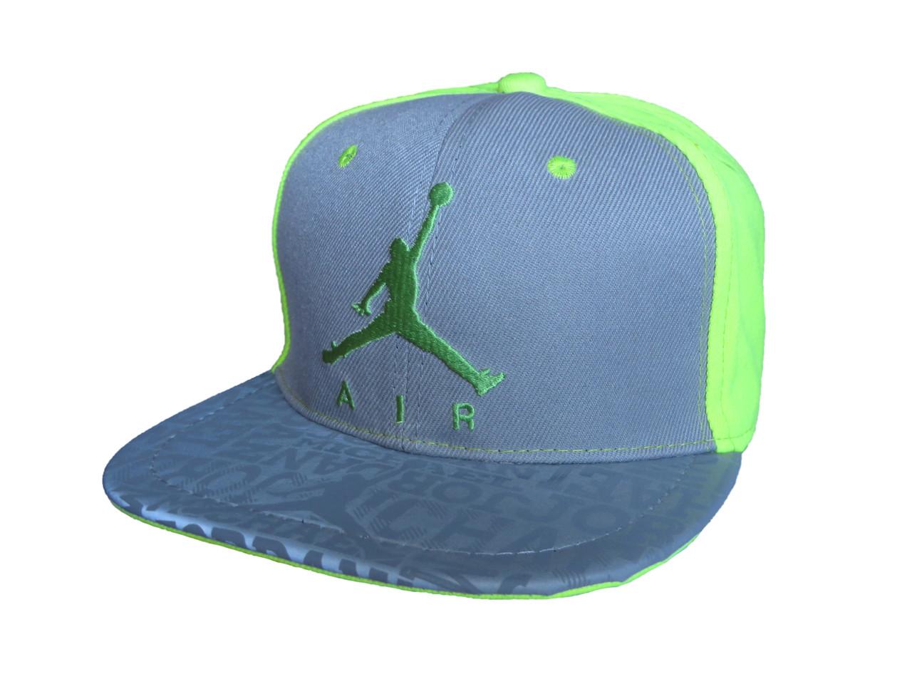 Серая с салатовым кепка Jordan Air (реплика)