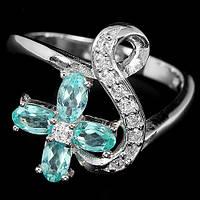 Серебряное Кольцо с Натуральными Цирконами и Cz