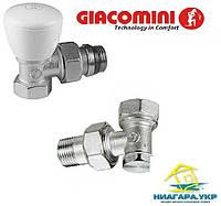 Кран радиаторный GIACOMINI 1/2 угловой, комплект (2 шт R5x033, R16x033)