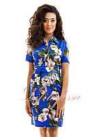 Платье летнее Флоренц цветочный принт синий