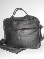 Стильная мужская сумка барсетка черная кожаная длинная и короткая ручка недорого 7 км оптом Г1584/01574