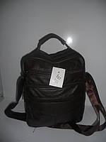 Коричневая мужская сумка барсетка кожаная длинная и короткая ручка недорого 7 км оптом Г1584/01575