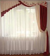 Жесткий ламбрекен Веточка бордо  2,5м