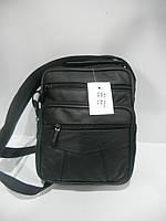 Кожаная мужская сумка барсетка черная длинная и короткая ручка недорого 7 км оптом Г1584/01577