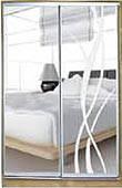 ШКАФЫ-КУПЕ с фасадами из ЗЕРКАЛ, МАТОВЫХ зеркал и зеркал с РИСУНКОМ пескоструй на 1 двери 6/9 зеркало + лиана