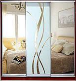 ШКАФЫ-КУПЕ с фасадами из ЗЕРКАЛ, МАТОВЫХ зеркал и зеркал с РИСУНКОМ пескоструй на 1 двери 6/8R/6 зеркало+м/лиа