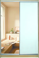 ШКАФЫ-КУПЕ с фасадами из ЗЕРКАЛ, МАТОВЫХ зеркал и зеркал с РИСУНКОМ пескоструй на 1 двери 6/7 зеркало + м/зерк