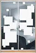 ШКАФЫ-КУПЕ с фасадами из ЗЕРКАЛ, МАТОВЫХ зеркал и зеркал с РИСУНКОМ пескоструй на 2 двери 52/53 квадраты