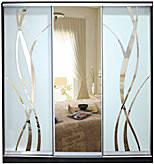 ШКАФЫ-КУПЕ с фасадами из ЗЕРКАЛ, МАТОВЫХ зеркал и зеркал с РИСУНКОМ пескоструй на 2 двери 8L/6/8R м/лиана+зерк