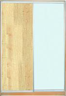 ШКАФЫ-КУПЕ с фасадами из ДСП, МАТОВЫХ зеркал и зеркал с РИСУНКОМ пескоструй на 1 двери 2/7 дуб + м/зеркало