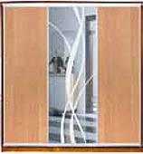 ШКАФЫ-КУПЕ с фасадами из ДСП, МАТОВЫХ зеркал и зеркал с РИСУНКОМ пескоструй на 1 двери 5/9/5 ольха+лиана+ольх