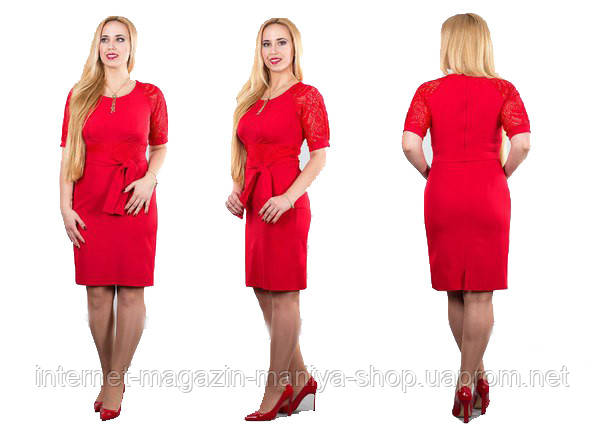 Платье женское с отделкой из гипюра полу батал