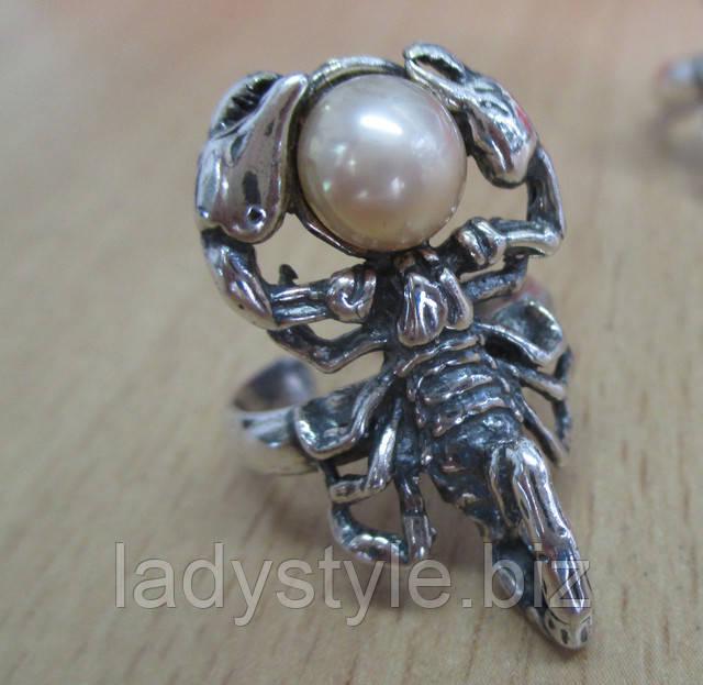 жемчуг скорпион зодиак кольцо перстень купить унисекс