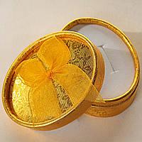 Подарочная коробочка для украшений овальная Золотая 12 шт. [8/6,5/3 см]