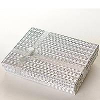 Подарочная коробочка для украшений Серебро большая прямоугольная 12 шт. [16/12/3 см]