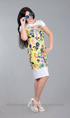 Платье женское цветы полу батал
