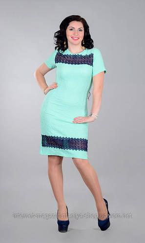 Платье женское с кружевом полу батал