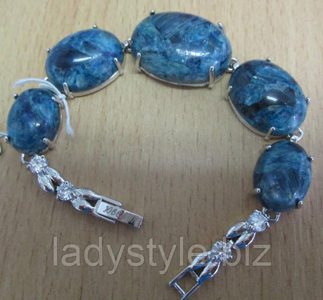 Купить украшения из натурального кианита, серебряный браслет с кианитом купить, редкие дорогие украшения купить