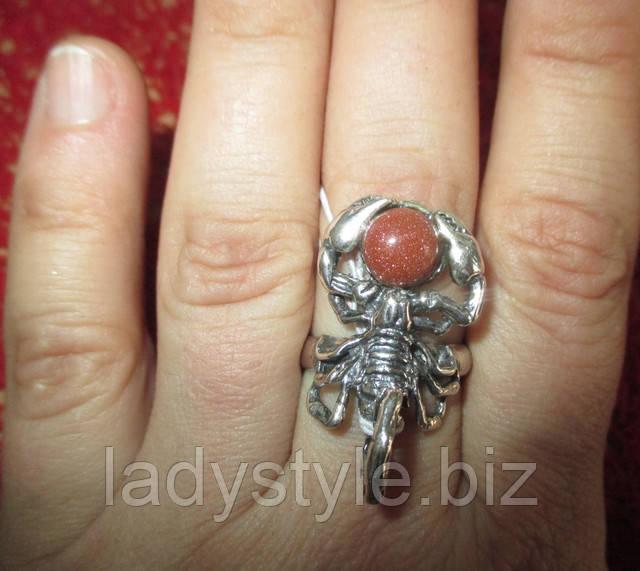 скорпион кольцо перстень знак зодиака купить авантюрин золотой песок