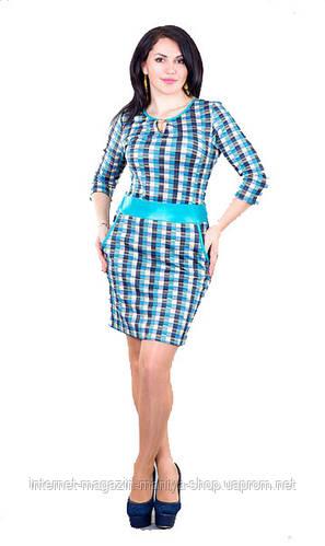 Платье женское отделка кож- зам полу батал