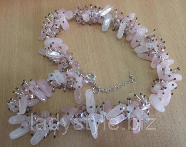 купить подвеску, кулон из натурального камня в подарок розовый кварц