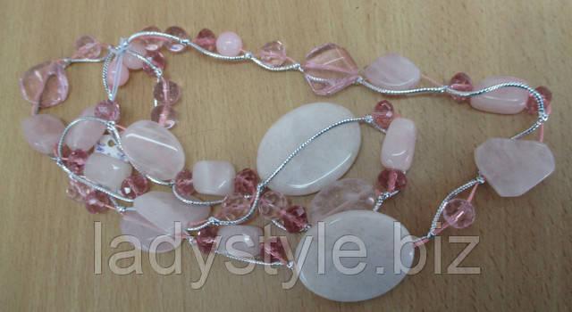 купить украшения с розовым кварцем, купить подарки для женщин бусы подвески розовый кварц