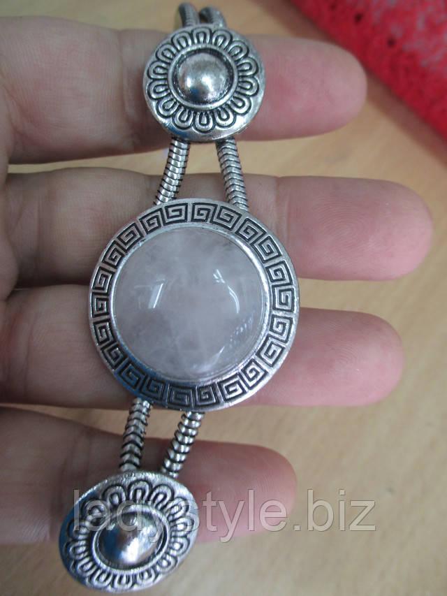 купить украшения с розовым кварцем браслет колье кольцо