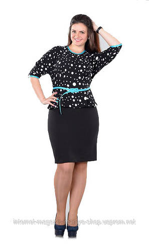 Платье женское горох с баской + ремень полу батал