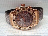 Часы Hublot Big Bang Boa Bang 114042 рептилия женские золотистые на серебристом каучуковом ремешке календарь