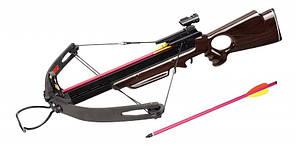 Мощный арбалет винтовочный: ход тетивы 44 см, размах дуг 71 см, 3,1 кг, 2 стрелы, прицельная планка