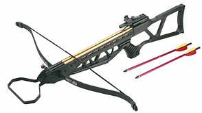 Спортивный арбалет винтовочный: натяжение 17-19 кг, дальность 25 м, 2 стрелы, ласточкин хвост