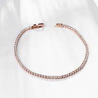 """Изящный тонкий женский браслет с прозрачными кристаллами позолота """"Сена"""""""