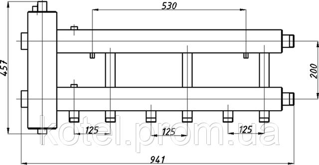 Схема коллектора с гидроуравнивателем СК 332.125 в изоляции