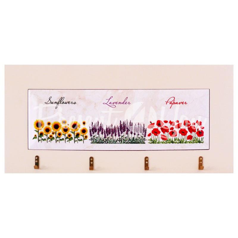 Панно настенное горизонтальное с крючками «Цветы», 10х30, 18х38 см.