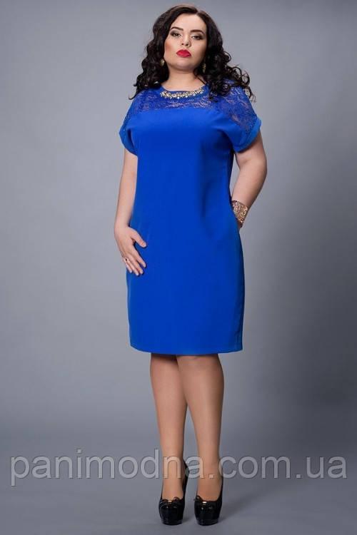 """Стильное  платье, декорировано гипюром  - """"Мария"""" код 502"""
