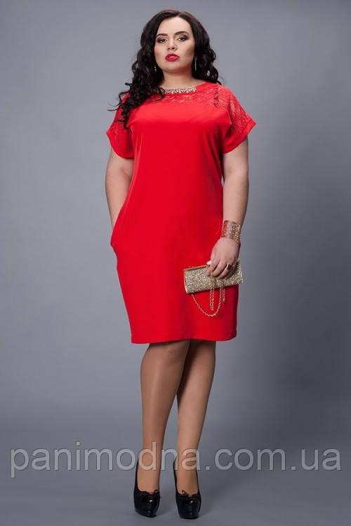 """Женское платье, декорировано гипюром  - """"Мария"""" код 502"""