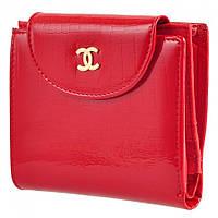 Красный лакированный женский кошелек с монетницей 07011