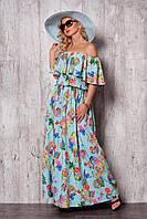 Нежное платье в пол с абстрактным русунком