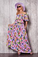 Оригинальное платье из шелка с воланом