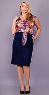 Шикарное платье  юбка-карандаш из плотной ткани верх микромасло размеры 50 52 54 56 58 60 62 64