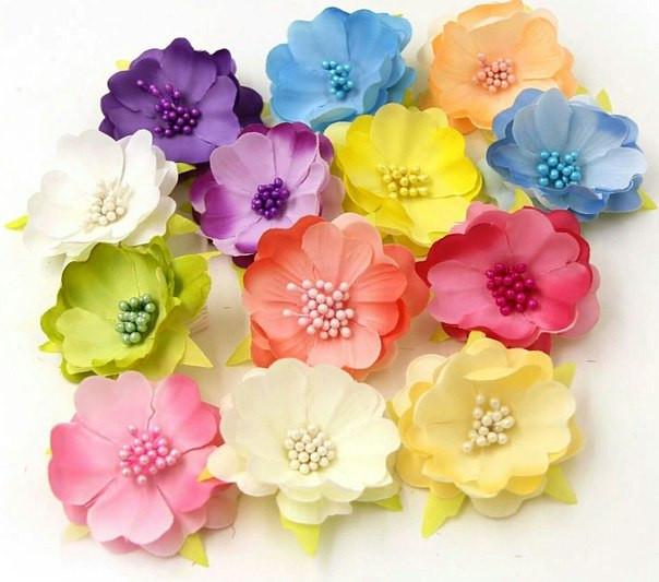 Цветы декоративные из ткани оптом