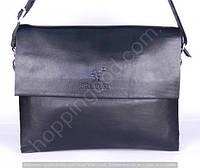 Мужская сумка Bradford 886-6 черная из искусственной кожи на три отделения