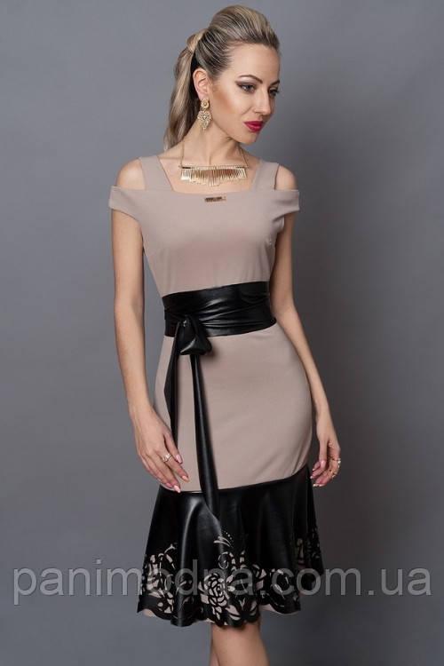 """Стьльное платье декорировано перфорированой кожей - """"Екатерина"""" код 247"""