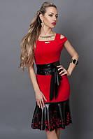 """Модное платье декорировано перфорированой кожей - """"Екатерина"""" код 247"""