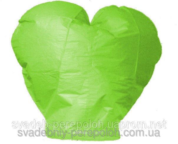Небесный фонарик Сердце салатовый