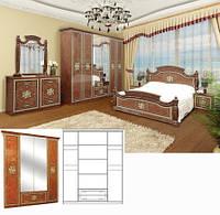 Спальня Жасмин комплект 4Д орех лак Світ Меблів