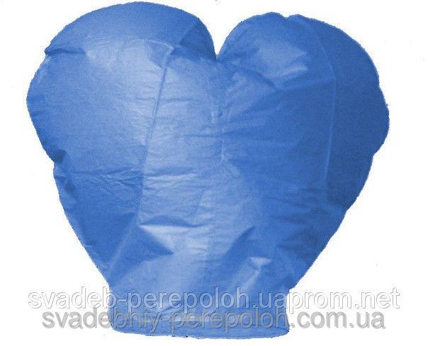 Небесный фонарик Сердце синий