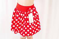 Детская красная летняя коттоновая юбка в горошек
